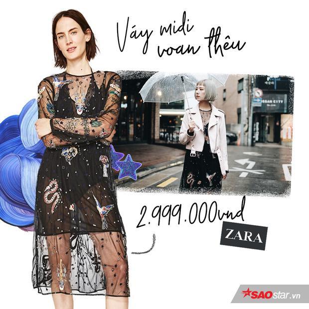 Váy midi voan thêu được mix layer cùng áo blazer này cũng của thương hiệu Zara.