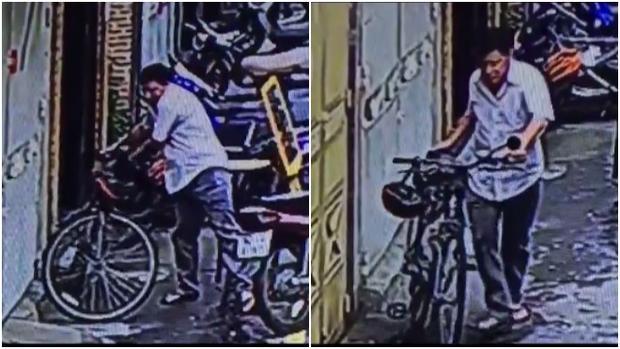 Hình ảnh camera an ninh ghi lại lúc chiếc xe bị lấy cắp.