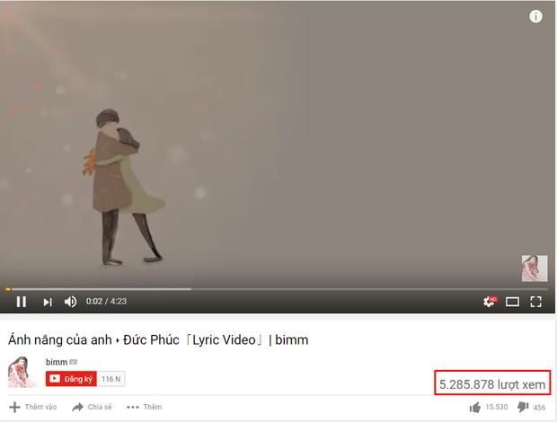 Chỉ là 1 Lyric Video không chính thức nhưng clip Ánh nắng của anh này cũng đã xuất sắc cán mốc 5 triệu lượt.