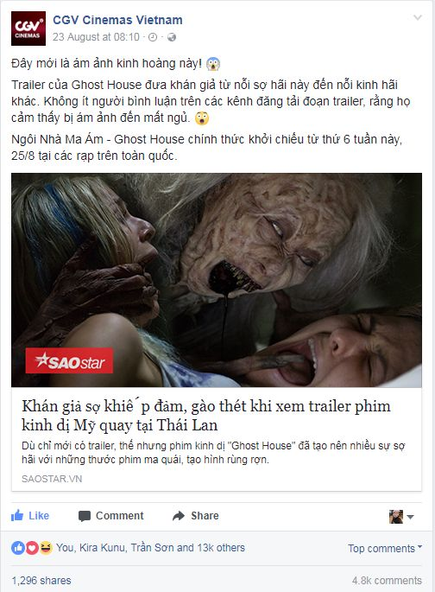 Hệ thống rạp chiếu phim hàng đầu tại Việt Nam cũng chia sẻ thông tin bộ phim và thu hút hơn 4800 bình luận kèm hàng ngàn like và share.