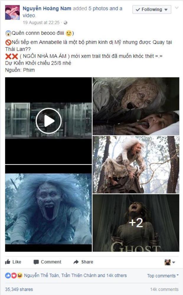 Một tài khoản Facebook bình thường cũng ngạc nhiên với bài chia sẻ của mình về bộ phim, thu hút hơn 35,000 lượt chia sẻ với 14,000 bình luận cũng nhưng lượt like cho Ghost House.