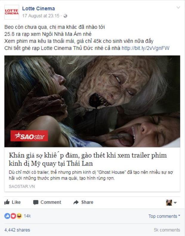 Fanpage của một hệ thống rạp chia sẻ bài báo giới thiệu bộ phim và nhận được lượng phản hồi đáng kinh ngạc với 14,000 like, 4,400 share và 5,000 bình luận.