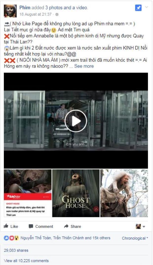Chỉ một trailer và vài thông tin, Ghost House đã thu hút hơn 15,000 lượt like, hơn 29,000 lượt chia sẻ với 10,225 bình luận trong 1 tuần.