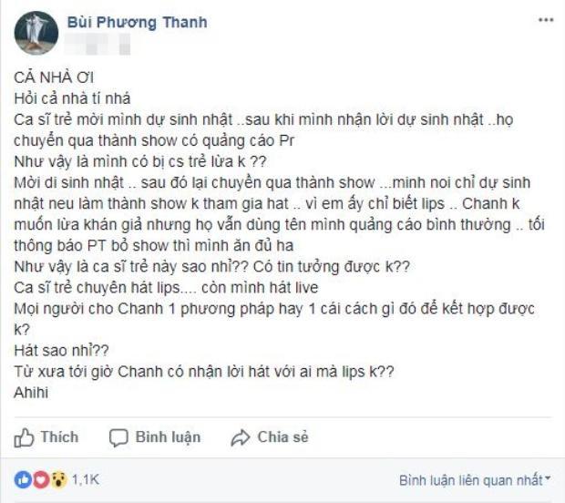 Phương Thanh phản pháo lại những chia sẻ của Lâm Khánh Chi về việc mình đã bỏ diễn trong đêm liveshow đầu tiên của Lâm Khánh Chi diễn ra vào năm 2000.