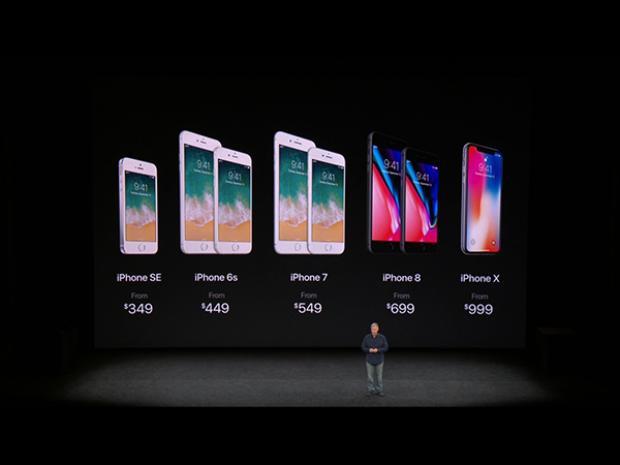 Giá bán của bộ đôi iPhone 8/8 Plus và iPhone X cùng các mẫu iPhone tiền nhiệm