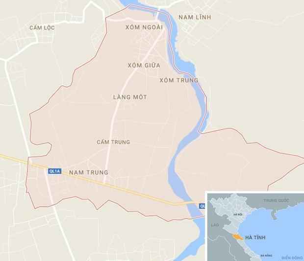 Xã Cẩm Trung, huyện Cẩm Xuyên (Hà Tĩnh), nơi xảy ra vụ việc. Ảnh: Google Maps.
