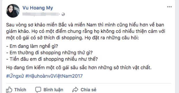 Chia sẻ của Hoàng My trên Facebook cá nhân.