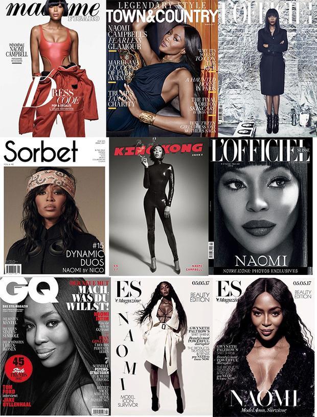 """Đây chỉ là những cover mà Naomi """"độc chiếm"""" trong năm 2017. Nếu tính cả quãng thời gian hậu The Face đến naythì số lần Naomi lên bìa các tạp chí danh tiếng quả là không đếm xuể."""