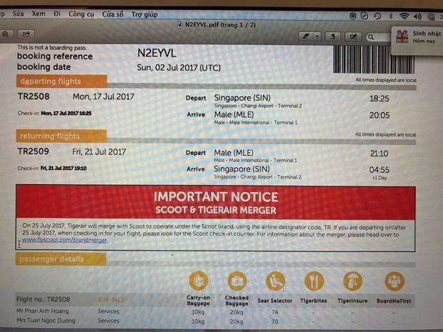 Ảnh chụp vé máy bay được đặt của hãng hàng không giá rẻ.