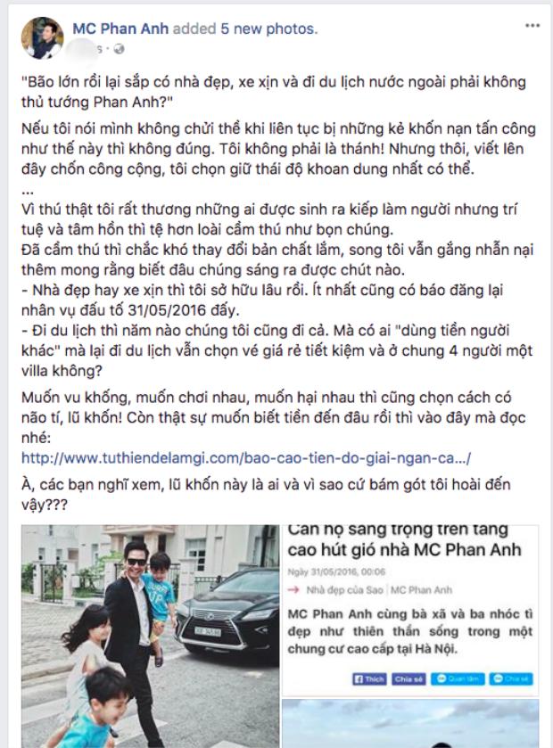 Nguyên văn chia sẻ của MC Phan Anh.