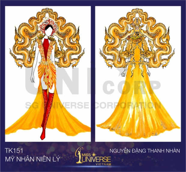 Bộ trang phục được lấy ý tưởng từ con rồng thời Lý và áo tứ thân Việt Nam của Nguyễn Đặng Thanh Nhàn.