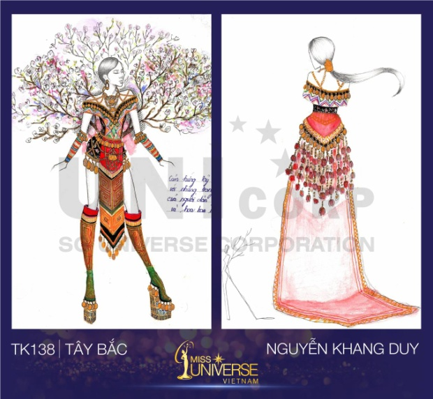 Nguyễn Khang Duy lại mang đến tác phẩm lấy cảm hứng vẻ đẹp của trang phục Tây Bắc và loài hoa ban rừng.