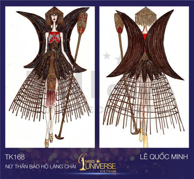 Lê Quốc Minh lấy cảm hứng từ hình ảnh người dân chèo ghe xuồng đội nón lá sống ở vùng sông nước miền Tây Nam Bộ để tạo nên bộ trang phục Nữ thần bảo hộ làng chài.