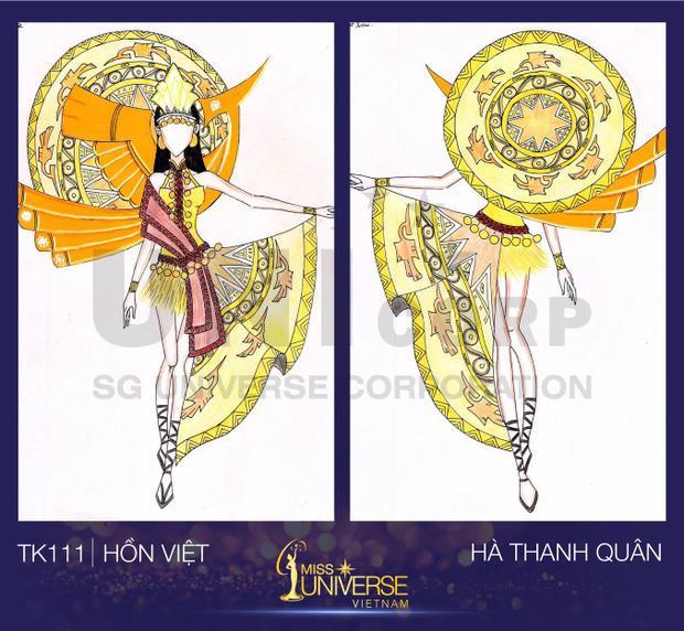 Trang phục được lấy ý tưởng từ Văn hóa Âu Lạc, đó là hình ảnh của người phụ nữ thời vua Hùng được cách điệu một chút về phần thân trên của tà áo dài Việt Nam.