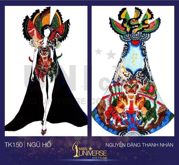 """Trang phục được lấy ý tưởng từ tranh thờ """"Ngũ hổ"""" - một dòng tranh Đông Hồ nổi tiếng của Việt Nam, kết hợp với nghệ thuật hát tuồng lâu đời."""