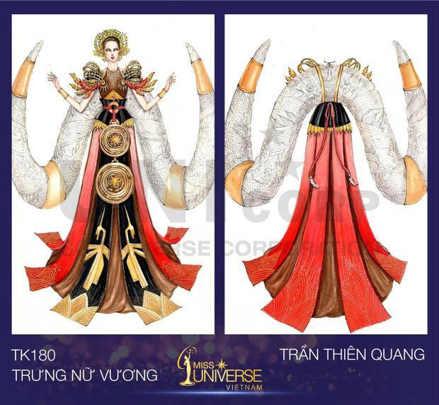"""Bộ trang phục được thiết kế lấy cảm hứng từ hình ảnh """"Hai bà Trưng"""" của Trần Thiên Quang."""