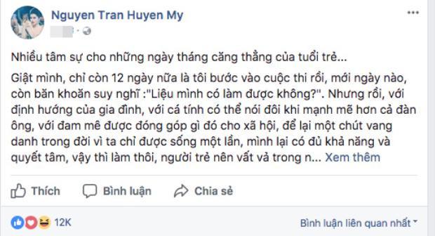 Chia sẻ mới nhất của Á hậu Huyền My.