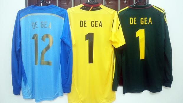 3 áo thi đấu của thủ thành David De Gea tại tuyển Tây Ban Nha.