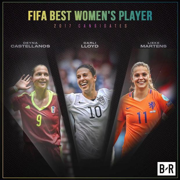Deyna Castellanos (Venezuela), Carli Lloyd (Mỹ) và Lieke Martens (Hà Lan) là 3 ứng viên cho danh hiệu The Best của bóng đá nữ.