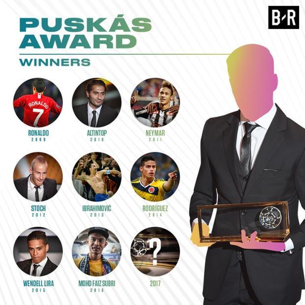 """Ngoài ra, giải thưởng """"Bàn thắng đẹp nhất năm 2017"""" cũng gây không ít tò mò. Vào năm 2016, Mohd Faiz Subri - cầu thủ Malaysia đã làm rạng danh bóng đá Đông Nam Á khi bước lên bục nhận giải thưởng này."""