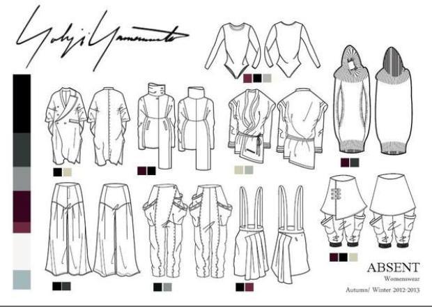 Một bản vẽ kĩ thuật thể hiện đường nét cấu trúc trang phục của ông, tuy thiết kế đồ cho nữ nhưng dễ dàng nhận thấy tính menswear trong từng thiết kế.