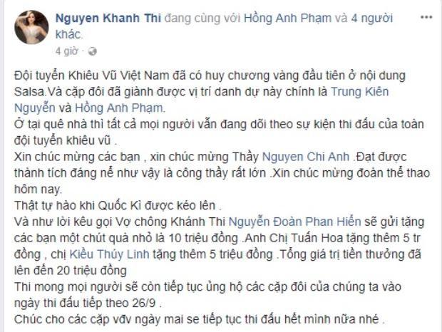 Khánh Thy vui mừng thông báo thưởng nóng 10 triệu đồng cho 2 học trò của Chí Anh.