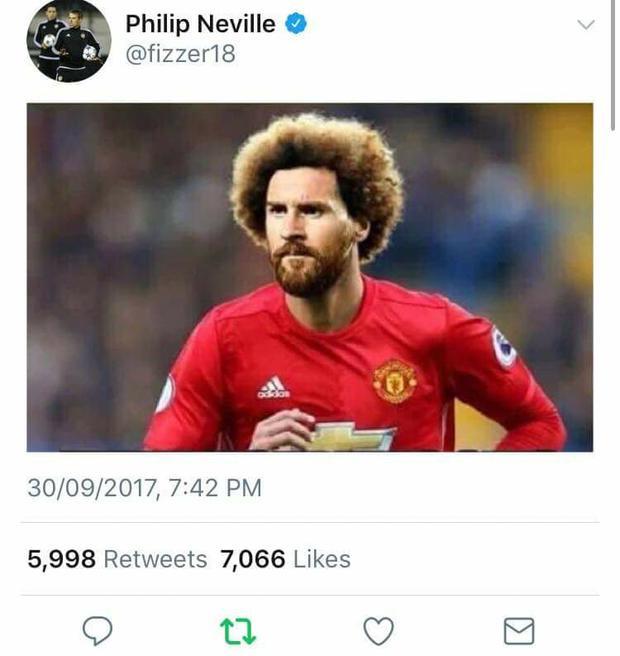 Cựu tiền vệ của Man Utd Phil Neville thậm chí còn nghĩ Fellaini là Messi.