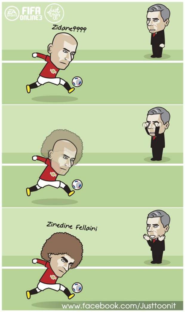 Họa sĩ biếm đến từ trang Justtoonit thậm chí còn tưởng tượng Fellaini chính là phiên bản nhiều tóc của Zidane.