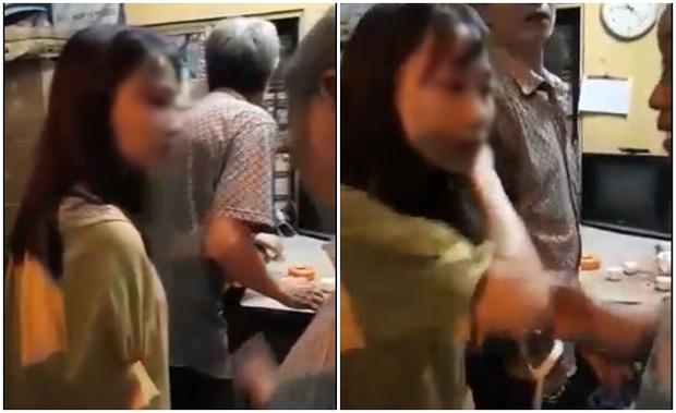 Nạn nhân xuất hiện trong đoạn clip là một bạn nữ sinh mặc áo vàng. Ảnh cắt từ clip.