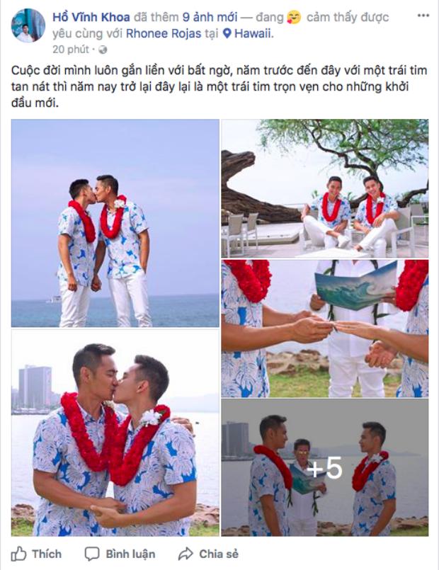 Hồ Vĩnh Khoa công khai hình ảnh được cho là ghi lại đám cưới đồng tính của anh cùng bạn trai.