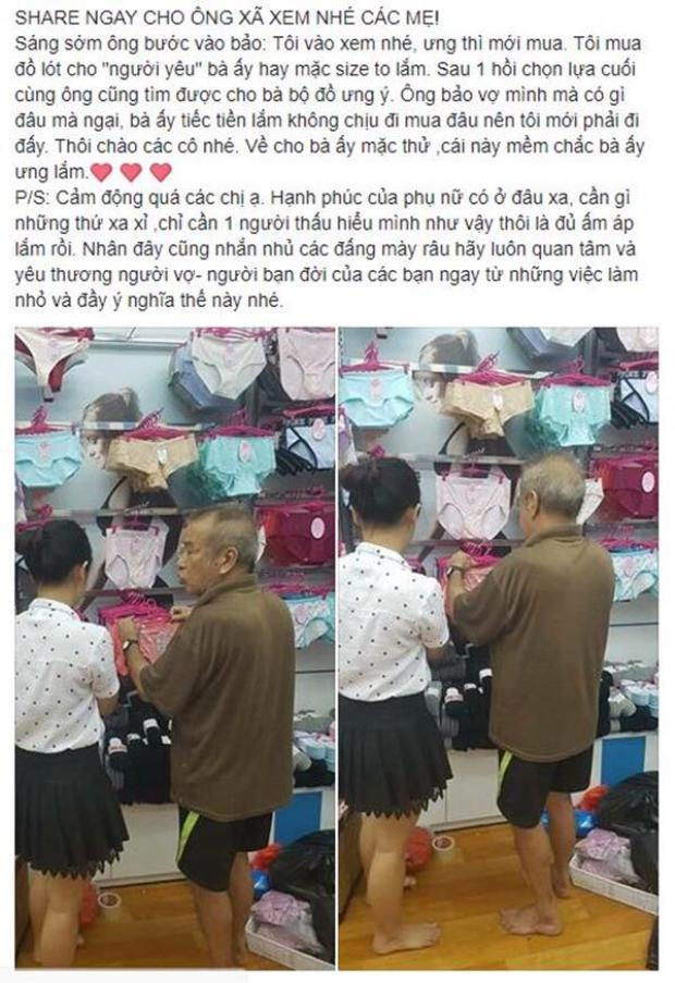 Hình ảnh cụ ông chọn đồ lót cho vợ xôn xao mạng xã hội.