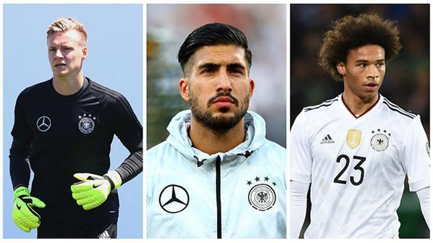 Từ trái sang: Bernd Leno, Emre Can và Leroy Sane sẽ đá chính trước Azerbaijan.