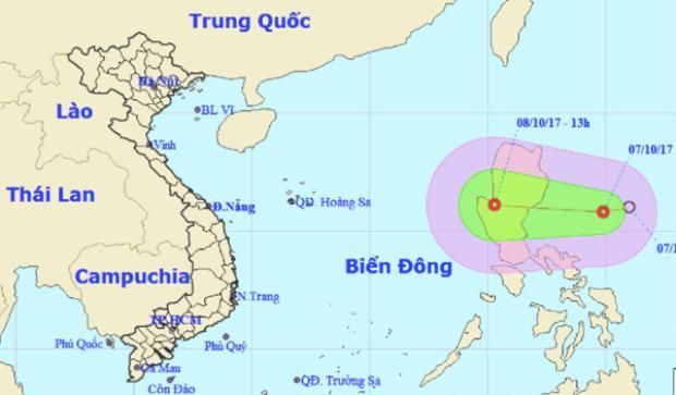 Hình ảnh dải áp thấp nhiệt đới ngoài biển Đông.