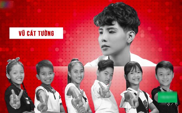 Team Vũ Cát Tường với Thanh Thy, Đình Tâm, Hải Bình, Ngọc Ánh, Thu Hà cùng Duy Khánh - hot boy nhí bị loại của đội Soobin Hoàng Sơn.