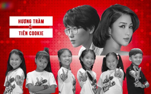Hai nữ HLV Hương Tràm - Tiên Cookie với Hồng Thư, Khả Vy, Như Ngọc, Phương Trúc, Thanh Ngâ và cậu bé dân ca Tâm Hào.