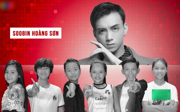 5 tài năng nhí team Soobin: Gia Hân, Hoài Ngọc, Hữu Lâm, Phi Long, Quốc Thái cùng Phương Linh - cô bé cá tính của đội Hương Tràm và Tiên Cookie.