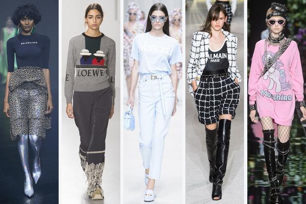 Balenciaga, Moschino, Versace…không ngần ngại đưa logo thương hiệu lên chính trang phục của mình,tạo nên một xu hướng thời trang mạnh mẽ.