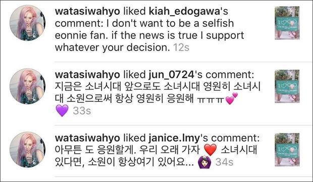 """Hyoyeon đã like một số bình luận của fan sau khi nghe tin """"dữ"""": """"Chị không muốn làm một fan ích kỷ đâu. Nếu tin ấy là thật thì chị vẫn luôn ủng hộ quyết định của các bạn"""", """"Bây giờ là SNSD, sau này là SNSD, mãi mãi là SNSD, mình sẽ luôn luôn và mãi mãi ủng hộ với tư cách là một SONE"""", """"Dù có thế nào mình cũng sẽ luôn ủng hộ mọi người. Chúng ta hãy đi cùng nhau thật lâu nhé. Chỉ cần có SNSD ở đây, SONE cũng sẽ luôn ở đây""""."""