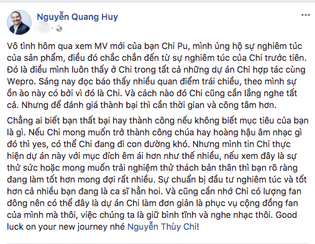Ông bầu Quang Huy - chồng ca sĩ Phạm Quỳnh Anh, cũng có những chia sẻ trên trang cá nhân xoay quanh việc Chi Pu gây tranh cãi khi lấn sân làm ca sĩ.