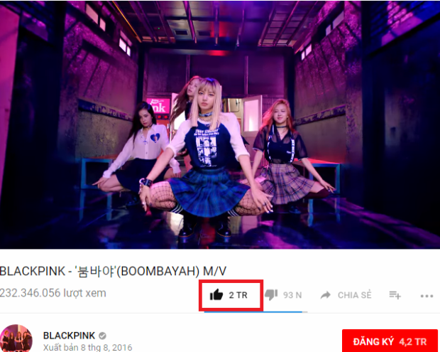 Boombayah vừa cán mốc 2 triệu lượt yêu thích trên Youtube.