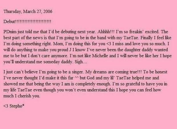 Nguyên văn bài đăng trên blog của Tiffany năm 2006.