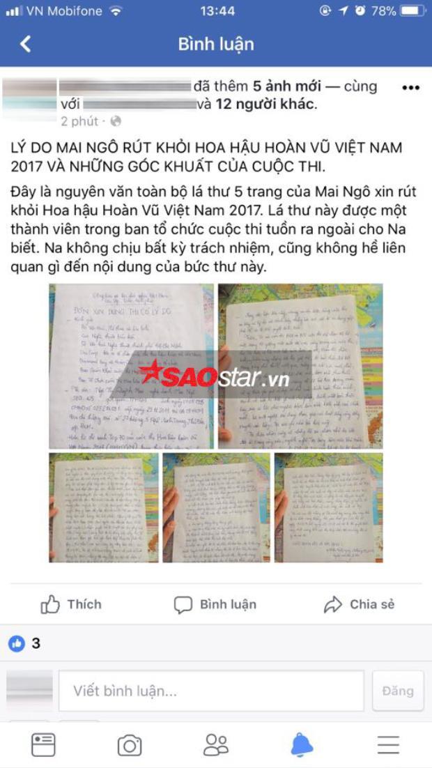 Một cư dân mạng bất ngờ chia sẻ hình ảnh chụp lại toàn bộ lá thư của Mai Ngô trình bày về lý do rút tên khỏi cuộc thi Hoa hậu Hoàn vũ Việt Nam 2017.
