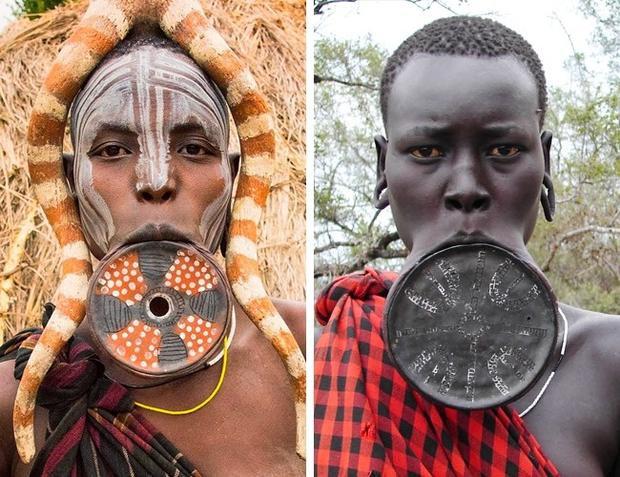 Ở bộ tộc Mursi, Ethiopia, từ nhỏ các bé gái học cách kéo da dưới môi bằng một chiếc đĩa đặc biệt. Đĩa càng lớn, vị trí xã hội của cô gái càng cao và phần hồi môn trước khi cưới càng lớn. Có hai lý do đằng sau điều này. Người Mursi tin rằng ma quỷ có thể nhập vào người qua đường miệng, chiếc đĩa sẽ chặn chúng lại. Họ làm vậy cũng để tránh bị bắt đi làm nô lệ.