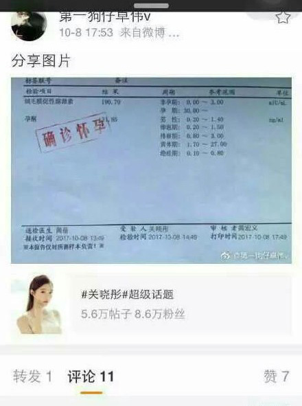 Cả tờ giấy khám thai có tên Quan Hiểu Đồng lẫn tài khoản Weibo đứng tên Trác Vỹ đều là giả mạo.