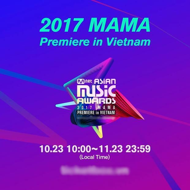 Trang bán vé MAMA 2017 tại Việt Nam mở cửa vào 10h sáng 23/10.