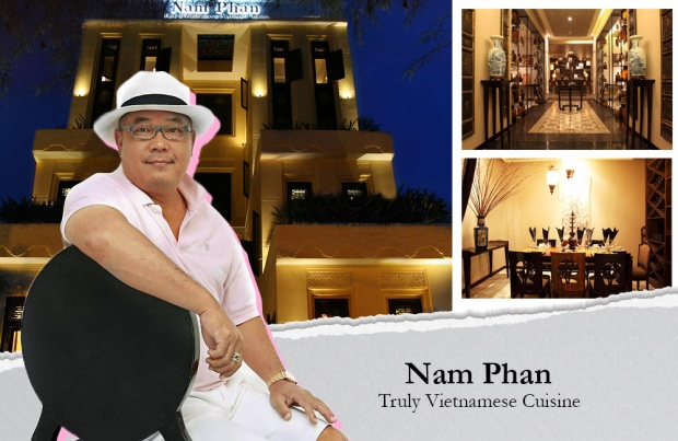 Nhà hàng Nam Phan - chi phí xây dựng 8 triệu đô (Võ Văn Tần, quận 3, TP.HCM) được xây dựng theo phong cách thuần Việt với gỗ, phù điêu trang trí, họa tiết trên tường…