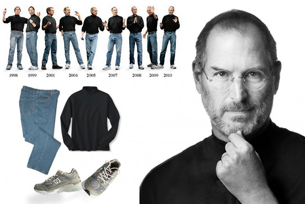Quần jeans Levi's, giày New Balance và áo len cổ cao màu xám đã gắn liền với hình ảnh Steve Jobs sau nhiều năm.
