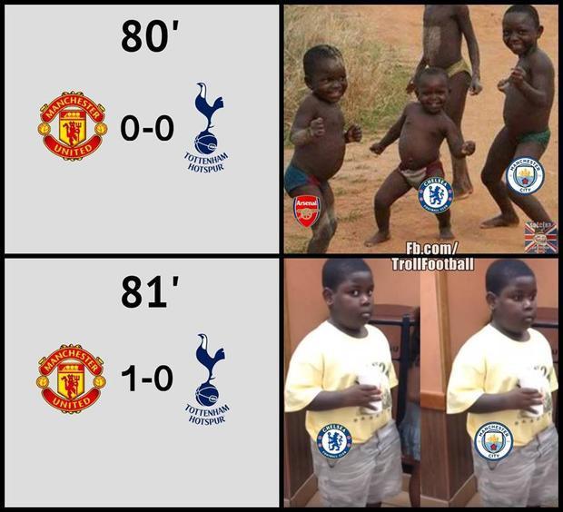 Các CĐV Chelsea, Man City đã chuẩn bị ăn mừng sẵn nhưng bàn thắng ở phút 81 của Martial đã làm hỏng niềm vui của họ.