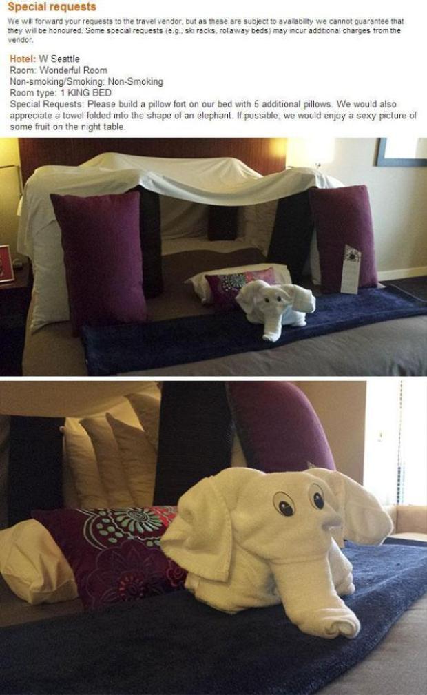 """Một """"thượng đế"""" khác cũng yêu cầu có pháo đài gối, nhưng đặc biệt hơn ở chỗ """"thượng đế"""" này còn đòi thêm hẳn một chú voi canh gác."""
