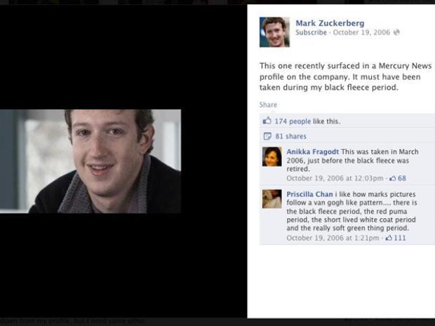 """Có lẽ một trong những """"dấu hiệu"""" nhận biết đầu tiên về mối quan hệ dài lâu và bền chặt giữa Mark Zuckerberg và Chan là việc cô biết anh từ trước khi Mark chỉ gắn liền với áo hoodies. """"Có giai đoạn của áo khoác lông cừu màu đen, áo puma đỏ, áo khoác trắng và rồi là cả giai đoạn đồ màu xanh nhạt,"""" Chan bình luận trên một bài đăng của Mark trên Facebook."""